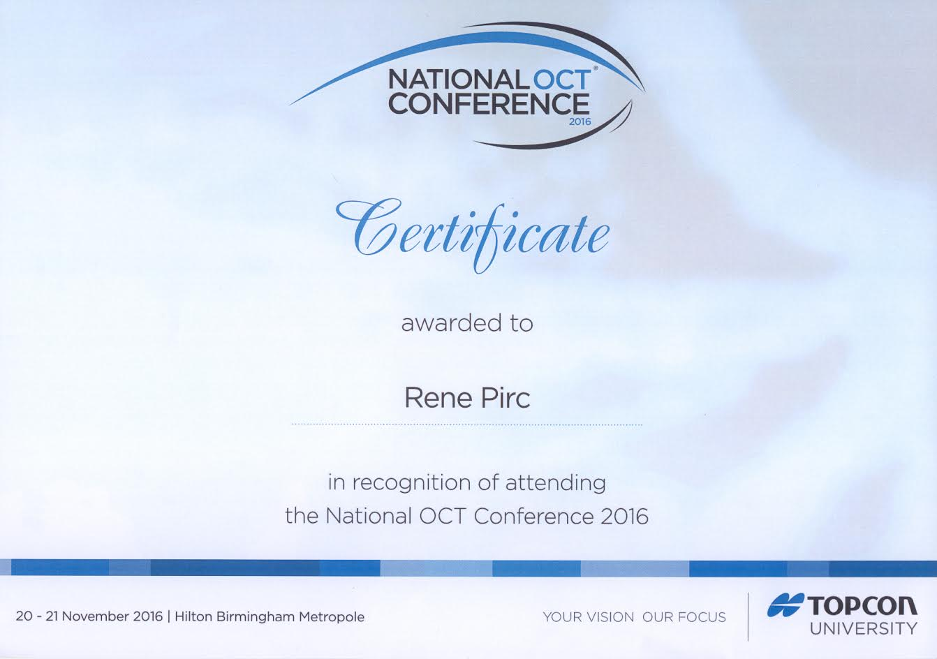 Optika Rene Pirc Maribor - Potrdilo OCT